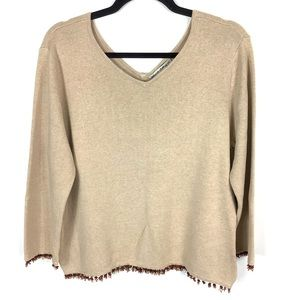 🤎Telluride Sweater Beaded Tan V-Neck Size XL